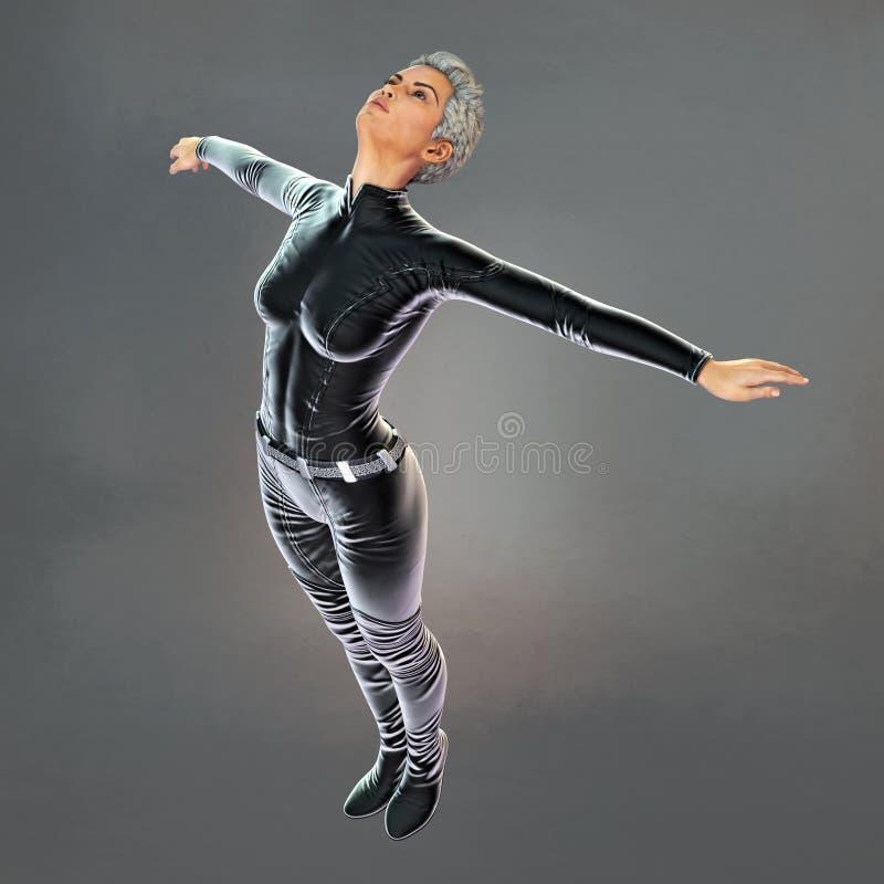 Beautiful Urban Fantasy Woman Floating with Head Back. Rendering of a beautiful urban fantasy style woman floating in the air with her head flung backwards stock illustration