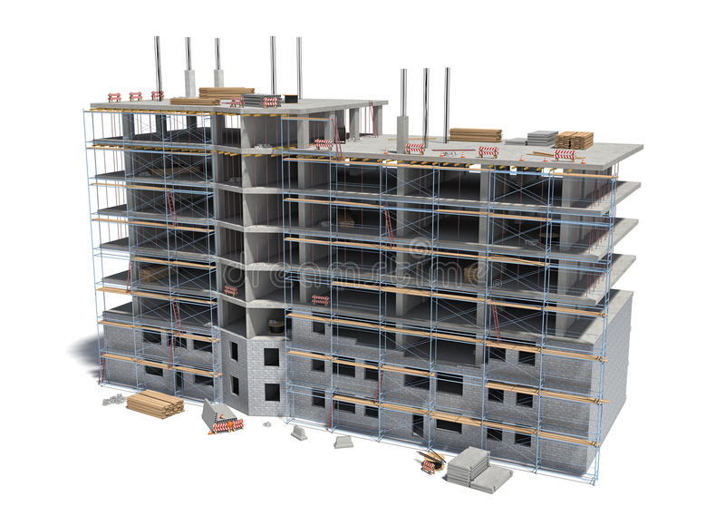 Rendering of building under construction with scaffolding and different equipment. vector illustration