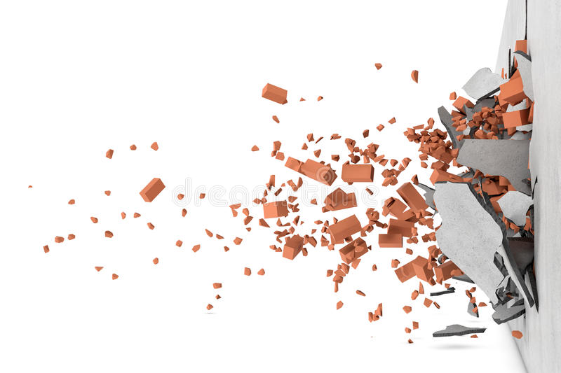 Rendering of concrete broken wall with rusty red bricks and their pieces flying apart after smash royalty free stock image