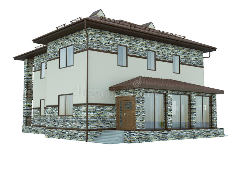 Rendering of a country house. 3d rendering of a country house stock illustration