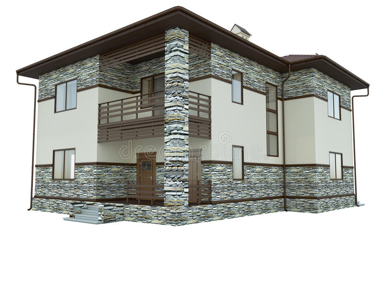 Rendering of a country house. 3d rendering of a country house vector illustration