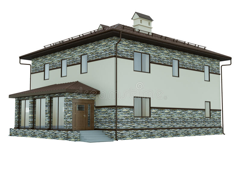 Rendering of a country house. 3d rendering of a country house royalty free illustration