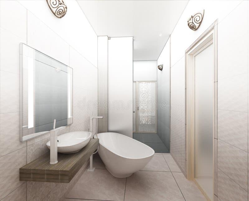 Download Rendering 3D Of A Modern Bathroom Interior Design Stock Illustration