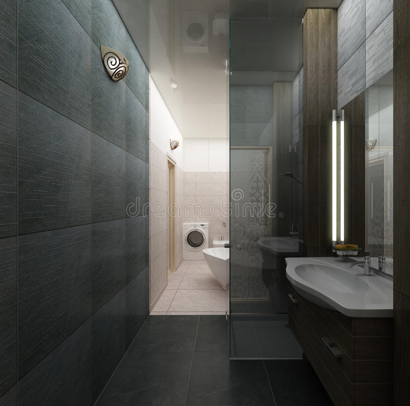 Rendering 3D nowożytnej łazienki wewnętrzny projekt royalty ilustracja