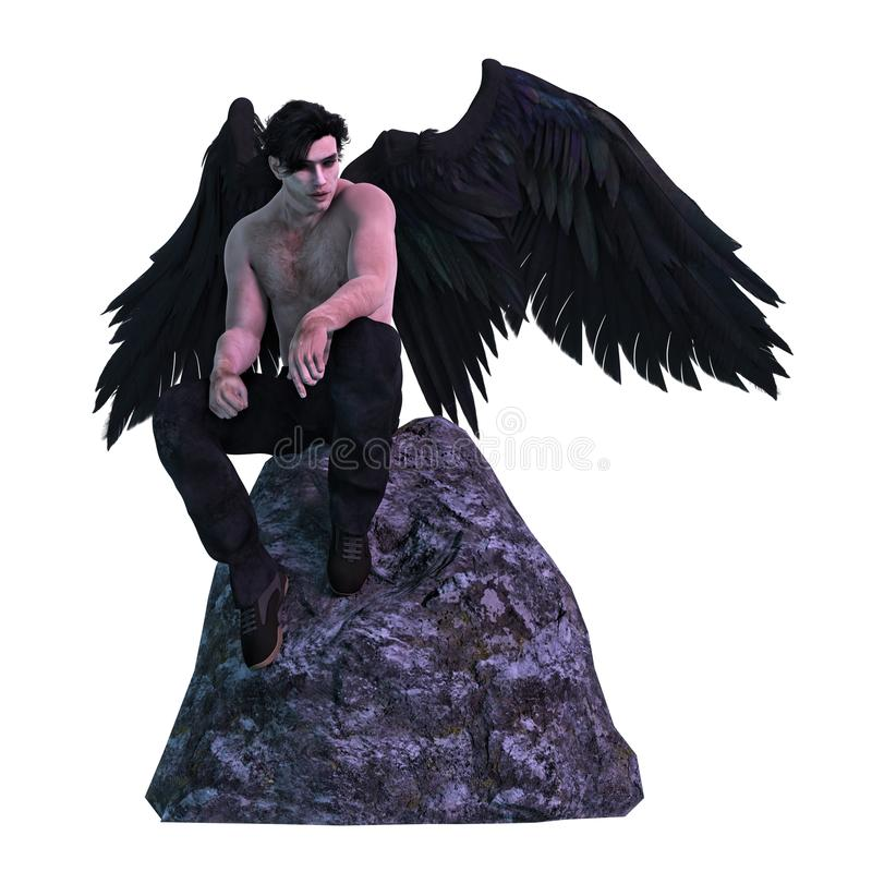 Rendering Dark Angel with Black Wings Seated on a Rock. Moody, mysterious, dark angel seated on a rock and looking downwards stock illustration