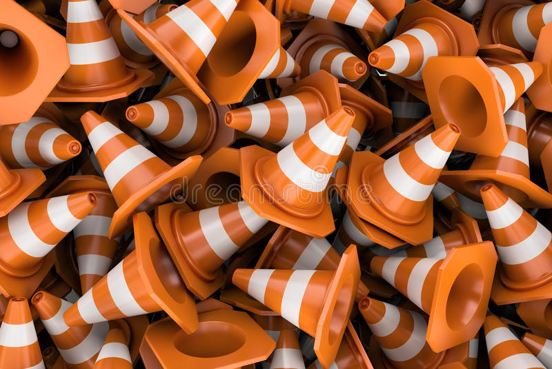 Rendering endless pile of fraffic cones vector illustration