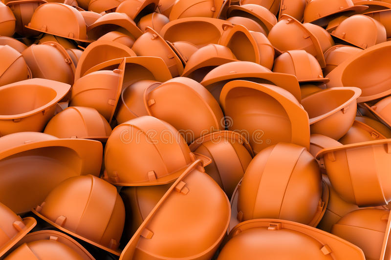 Rendering endless pile of orange plastic work helmet`s. royalty free illustration