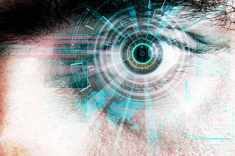 Rendering of a futuristic cyber eye with laser light effect. Rendering of a futuristic cyber eye with laser bright light effect stock image