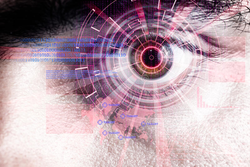 Rendering of a futuristic cyber eye with laser light effect. Rendering of a futuristic cyber eye with laser bright light effect royalty free stock photos