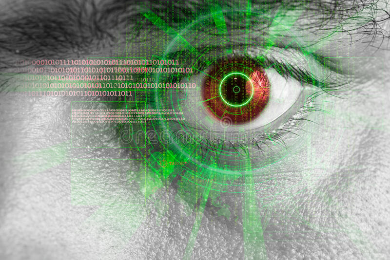 Rendering of a futuristic cyber eye with laser light effect. Rendering of a futuristic cyber eye with green laser light effect stock photography