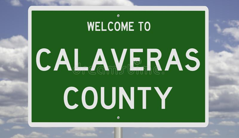 Road sign for Calaveras County. Rendering of a green 3d highway sign for Calaveras County in California stock photography