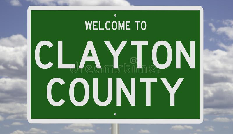 Road sign for Clayton County. Rendering of a green 3d highway sign for Clayton County royalty free stock images