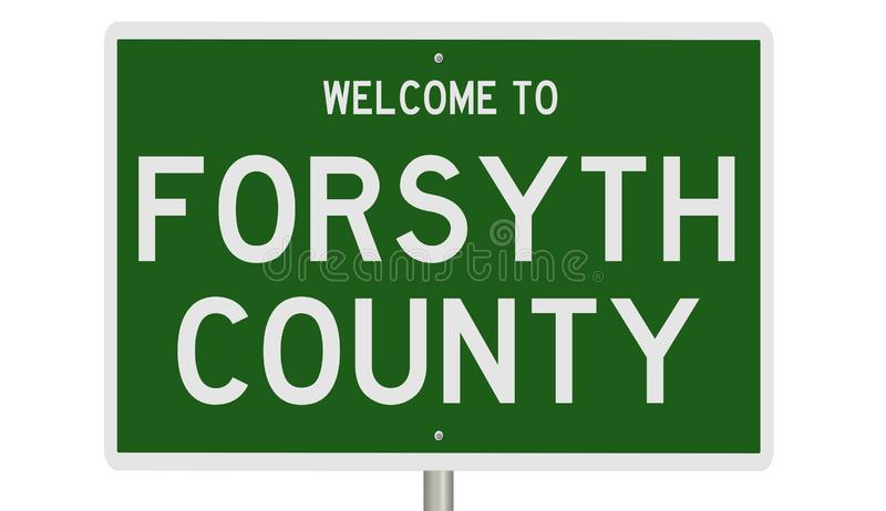 Road sign for Forsyth County. Rendering of a green 3d highway sign for Forsyth County stock images