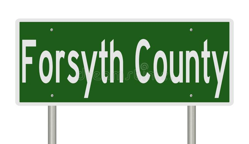 Road sign for Forsyth County. Rendering of a green 3d highway sign for Forsyth County royalty free stock photos