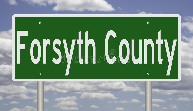 Road sign for Forsyth County. Rendering of a green 3d highway sign for Forsyth County stock image