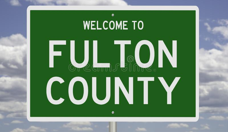 Road sign for Fulton County. Rendering of a green 3d highway sign for Fulton County stock photos