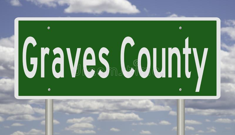 Road sign for Graves County. Rendering of a green 3d highway sign for Graves County stock photo