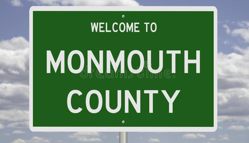 Road sign for Monmouth County. Rendering of a green 3d highway sign for Monmouth County royalty free stock image