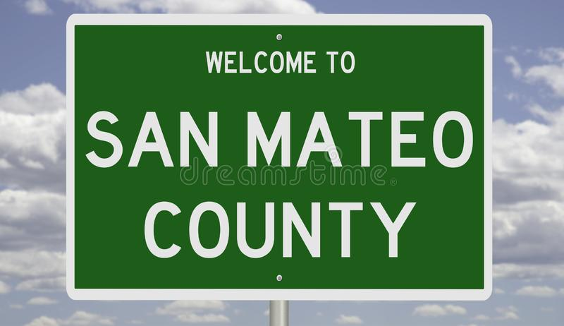 Road sign for San Mateo County. Rendering of a green 3d highway sign for San Mateo County stock photography