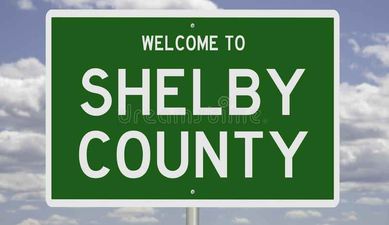 Road sign for Shelby County. Rendering of a green 3d highway sign for Shelby County stock photos