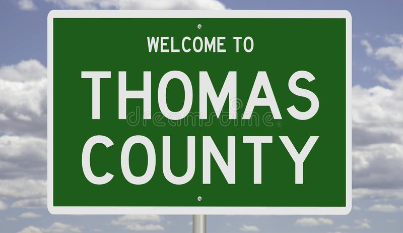 Road sign for Thomas County. Rendering of a green 3d highway sign for Thomas County royalty free stock image