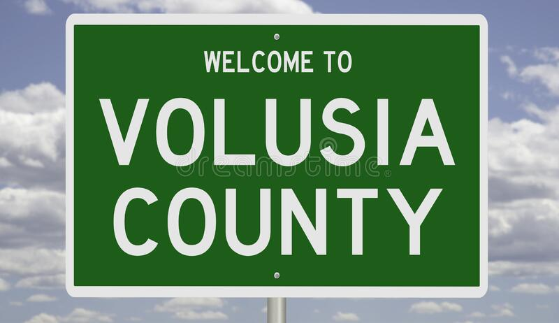 Road sign for Volusia County. Rendering of a green 3d highway sign for Volusia County stock photography