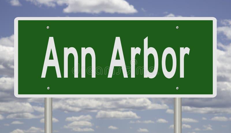 Highway sign for Ann Arbor Michigan. Rendering of a green freeway sign for Ann Arbor Michigan vector illustration