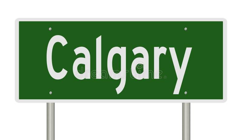 Highway sign for Calgary Alberta Canada. Rendering of a green freeway sign for Calgary Alberta stock illustration