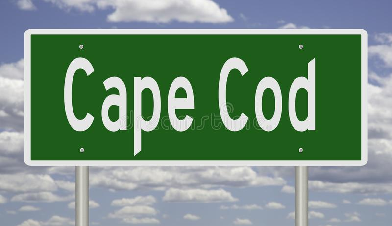 Highway sign for Cape Cod Massachusetts. Rendering of a green freeway sign for Cape Cod Massachusetts stock illustration
