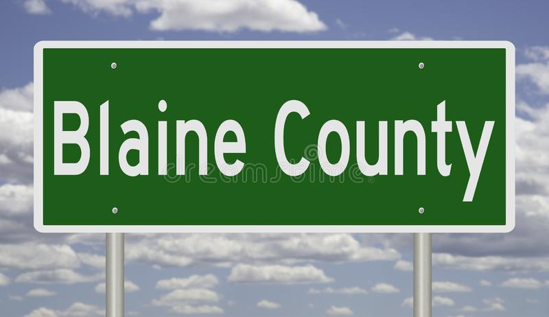 Highway sign for Blaine County Idaho. Rendering of a green highway sign for Blaine County in Idaho stock illustration