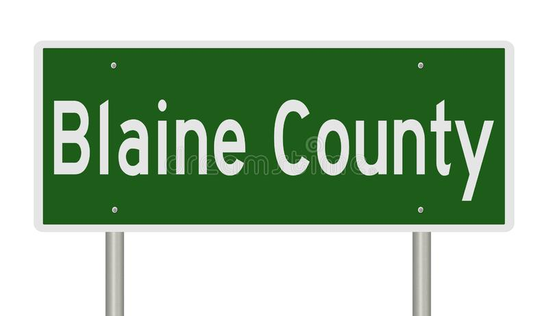 Highway sign for Blaine County Idaho. Rendering of a green highway sign for Blaine County in Idaho royalty free illustration