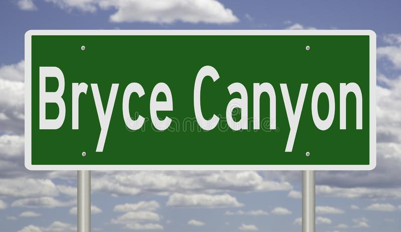 Highway sign for Bryce Canyon stock illustration