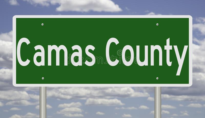 Highway sign for Camas County in Idaho. Rendering of a green highway sign for Camas County Idaho vector illustration