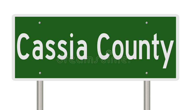 Highway sign for Cassia County in Idaho. Rendering of a green highway sign for Cassia County Idaho vector illustration