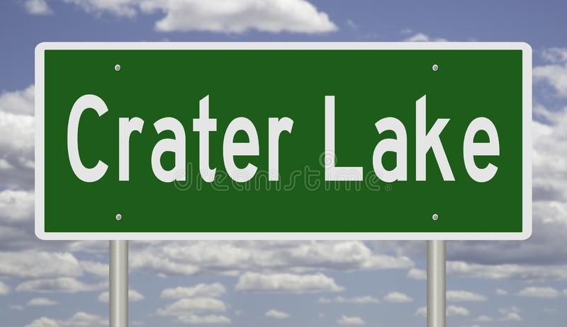 Road sign for Crater Lake National Park. Rendering of a green highway sign for Crater Lake National Park in Oregon vector illustration
