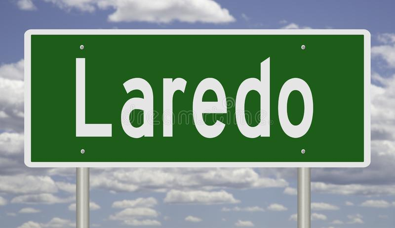 Highway sign for Laredo Texas. Rendering of a green highway sign for Laredo stock photos