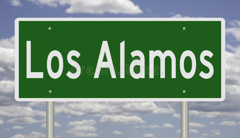 Highway sign for Los Alamos New Mexico. Rendering of a green highway sign for Los Alamos New Mexico royalty free stock photography
