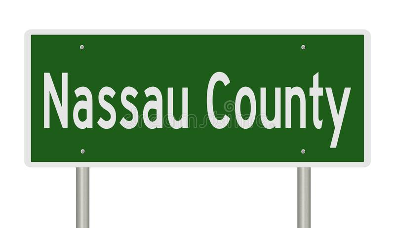 Highway sign for Nassau County. Rendering of a green highway sign for Nassau County stock illustration