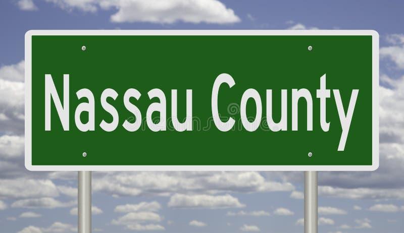 Highway sign for Nassau County. Rendering of a green highway sign for Nassau County royalty free illustration