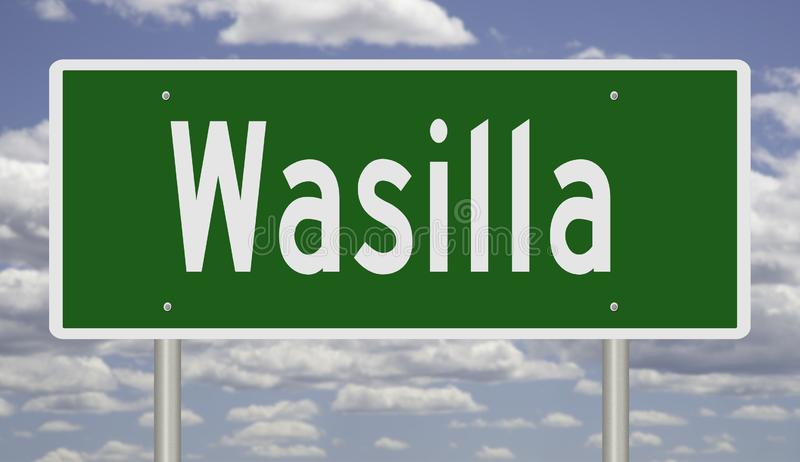 Highway sign for Wasilla Alaska. Rendering of a green highway sign for Wasilla royalty free stock image
