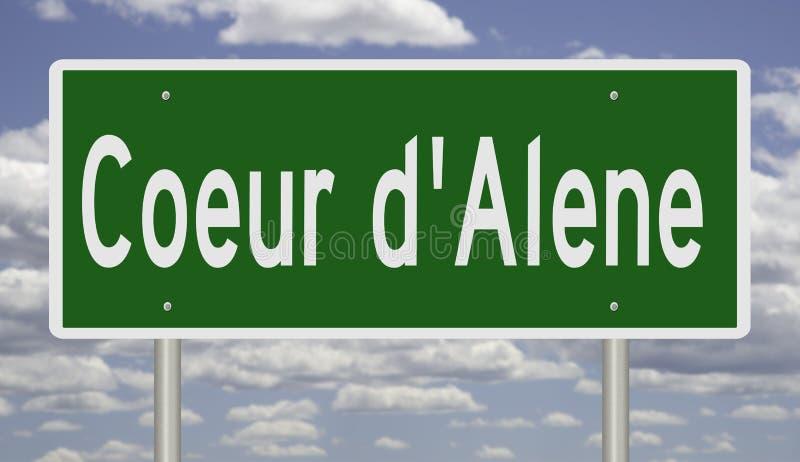 Highway sign for Coeur d`Alene Idaho. Rendering of a green road sign for Coeur d`Alene Idaho stock illustration