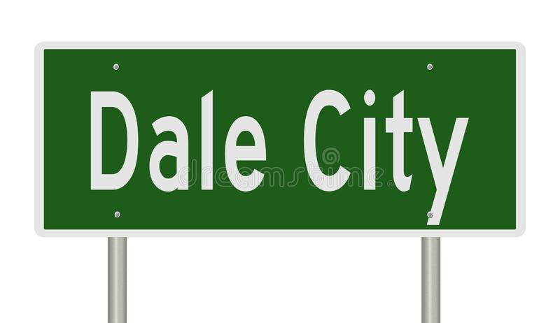 Highway sign for Dale City. Rendering of a green road sign for Dale City Virginia royalty free illustration