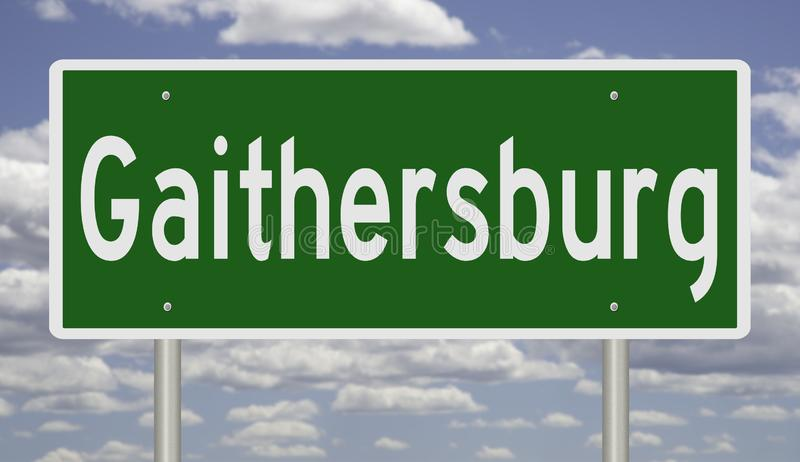 Highway sign for Gaithersburg. Rendering of a green road sign for Gaithersburg Maryland stock photos