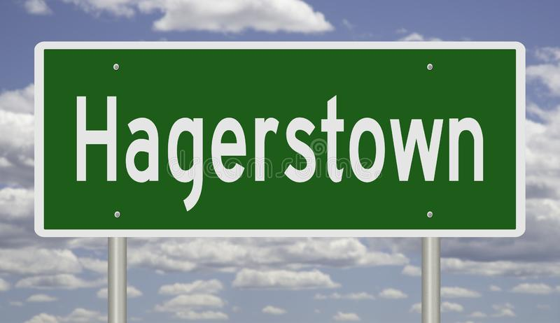 Highway sign for Hagerstown. Rendering of a green road sign for Hagerstown Maryland royalty free stock images