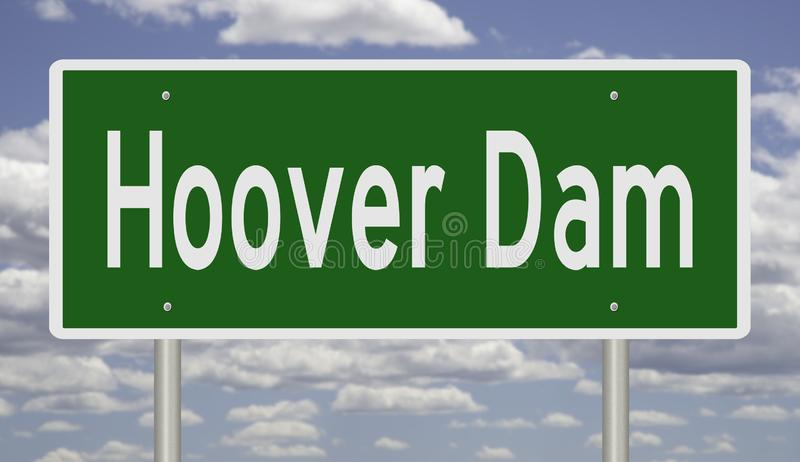 Highway sign for Hoover Dam. Rendering of a green road sign for Hoover Dam royalty free illustration