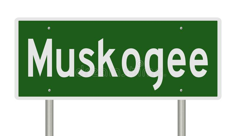 Highway sign for Muskogee. Rendering of a green road sign for Muskogee Oklahoma stock photos
