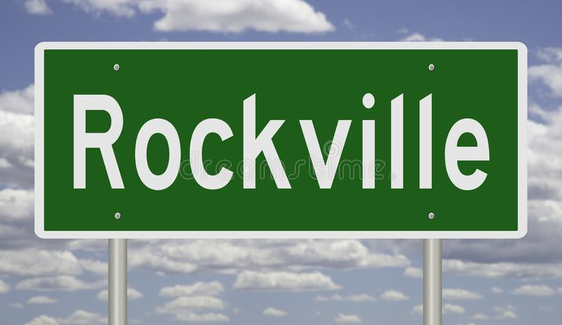 Highway sign for Rockville. Rendering of a green road sign for Rockville Maryland royalty free stock photo