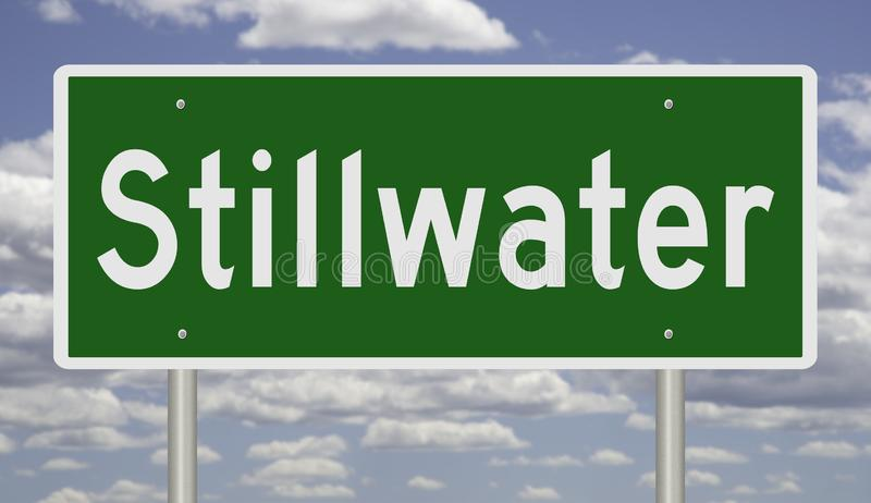 Highway sign for Stillwater. Rendering of a green road sign for Stillwater Oklahoma royalty free stock photo