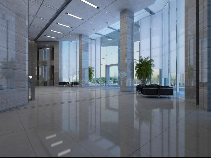 Rendering hall in the hotel stock photo