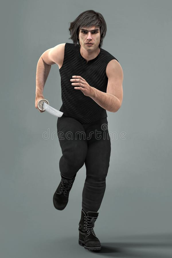 Rendering of handsome man running towards the camera holding a sword. Action pose render of a handsome young man running towards the camera holding a sword. Idea royalty free illustration